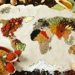 Map of world made from different kinds of spices on wooden background — Stock Photo #68793111
