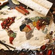 Map of world made from different kinds of spices on wooden background — Stock Photo #68793127
