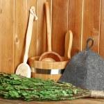 Natural accessories in sauna — Stock Photo #68794055