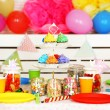 Prepared birthday table with sweets for children party — Stock Photo #68839133