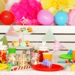 Prepared birthday table with sweets for children party — Stock Photo #68839159
