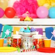 Prepared birthday table with sweets for children party — Stock Photo #68839193