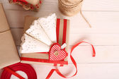 Beautiful gift box on wooden table, close-up. Valentine Day concept — Stock Photo