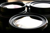 Set of modern camera lenses, macro view — Stock Photo