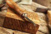 Craft tools op tabel close-up — Stockfoto