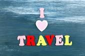 Inscription I love travel on wooden background — Foto Stock