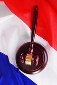 Wooden gavel on French flag background — Stock Photo