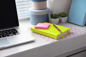 Laptop, notebook on windowsill. Working place concept — Stock Photo
