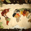Map of world made from different kinds of spices on wooden background — Stock Photo #69196847