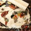 Map of world made from different kinds of spices on wooden background — Stock Photo #69196875