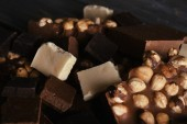 Set of chocolate with hazelnut, closeup — Стоковое фото