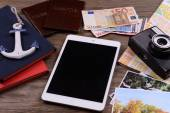 Preparing for travel,reservation ticket close-up — Stock Photo