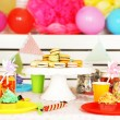 Prepared birthday table with sweets for children party — Stock Photo #69354237