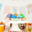 Prepared birthday table with sweets for children party — Stock Photo #69354239