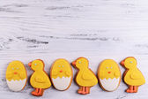 Delicious Easter cookies on wooden background — Stock Photo
