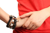 Female hands with bracelets, closeup — Stock Photo