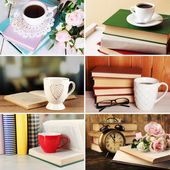 Books and cups compositions in collage, Reading concept — 图库照片