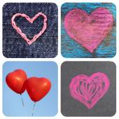 Collage of images with different hearts — Stock Photo