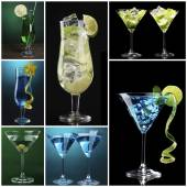 Collage of different cocktails — Stock Photo