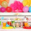 Prepared birthday table with sweets for children party — Stock Photo #69478365