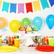 Prepared birthday table with sweets for children party — Stock Photo #69478375