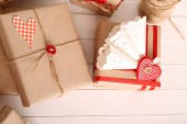 Beautiful gift box close-up. Valentine Day concept — Stock fotografie