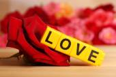 Letters forming word LOVE with flowers — Stock Photo