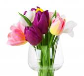 Fresh bouquet with tulips and crocus isolated on white — Stock Photo