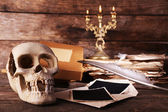 Human skull, retro book and quill — Stock Photo