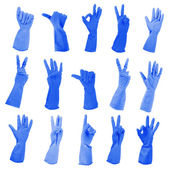 Blue gloves gesturing numbers isolated on white — Stock Photo