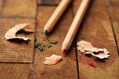 Crayons avec affûtage des copeaux — Photo