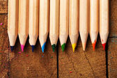Wooden colorful pencils — Stock Photo