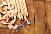 Pencils with sharpening shavings — Stock Photo