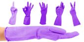 Purple gloves gesturing numbers isolated on white — Stock Photo