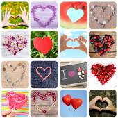 Collage of images with different hearts. Summer concept — Stock Photo