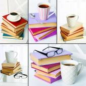 Books and cups compositions in collage, Reading concept — Stock Photo