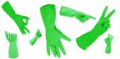 Green gloves gesturing numbers isolated on white — Stock Photo