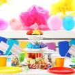 Prepared birthday table with sweets for children party — Stock Photo #69959659