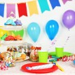 Prepared birthday table with sweets for children party — Stock Photo #69959675
