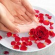 Female hands with bowl of aroma spa water on table, closeup — Stock Photo #69963349