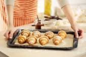 Baking croissant cookies. — Stock Photo