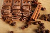 Chopped chocolate on parchment, closeup — Stock Photo