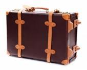 Brązowy walizka na białym tle — Zdjęcie stockowe