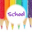 Colorful pencils in water with bubbles, close- up — Stock Photo #70220469
