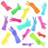 Colorful gloves gesturing numbers isolated on white — Stock Photo