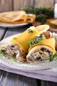 Pancakes with creamy mushrooms — Foto Stock