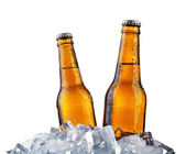 Glass bottles of beer isolated on white — 图库照片
