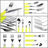Cutlery collage — Stock Photo
