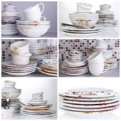 Collage of dirty dishes — Stock Photo
