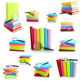 Different compositions with colorful books isolated on white in collage — Stock Photo